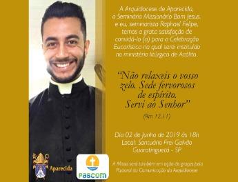 Seminarista Raphael recebe o Ministério do Acolitato