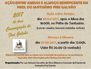 Santuário de Frei Galvão promove dois eventos beneficentes